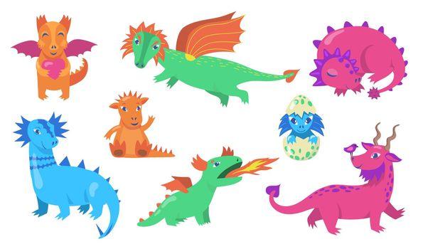 Cute fairytale dragons flat icon set