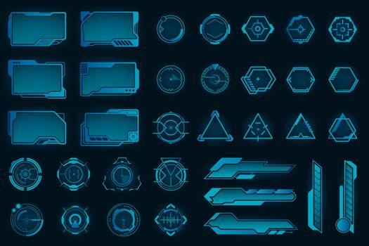 Different HUD elements flat frames set