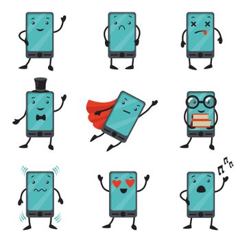 Mobile phone cartoon character set