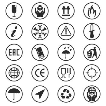 Package box symbols set