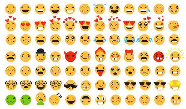 Sad and happy emoticons set