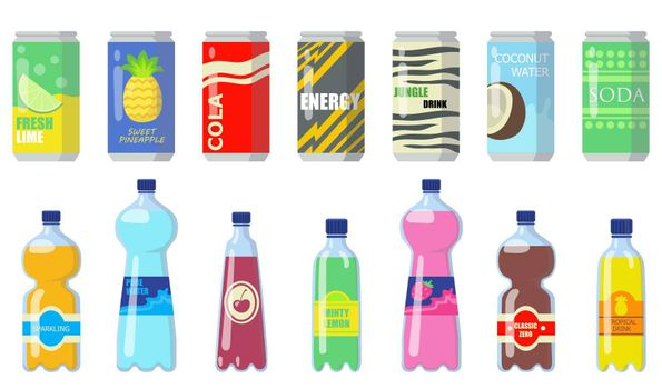 Various drinks in metallic cans and plastic bottles