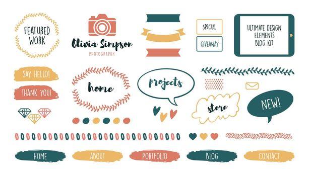 Various feminine cute frames and ribbons for blog set