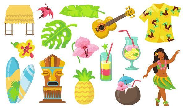 Various Hawaii symbols flat icon set