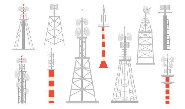 Various radio towers flat icon set