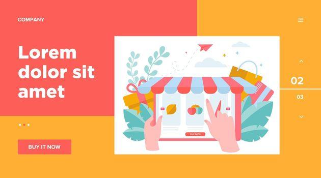 Hand choosing groceries online
