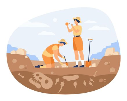 Archaeologist discovering dinosaurs remains