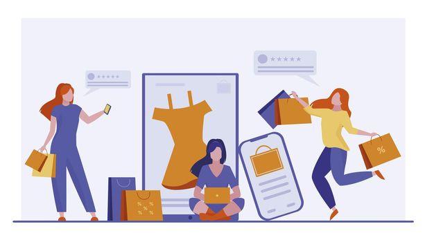 Customers buying goods online
