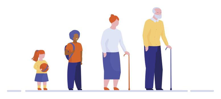 Grandparents and grandchildren standing in row