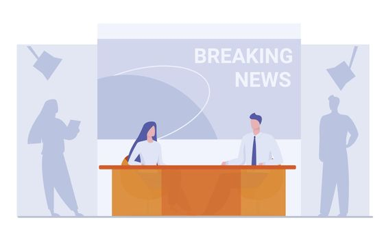 News anchors on breaking news background