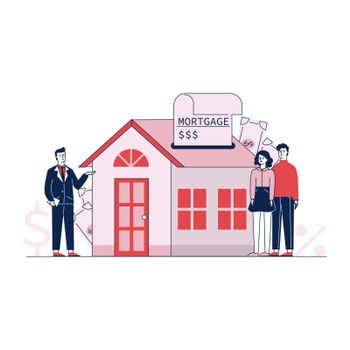 Couple buying home property with bank credit vector illustration