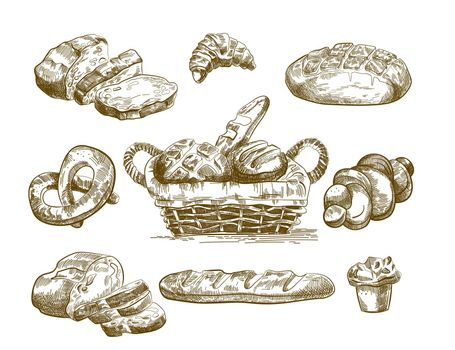 Hand drawn baked product sketches