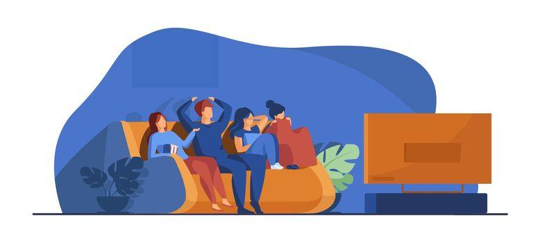 Friends watching horror movie