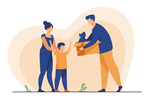 Happy family with child adopting pet