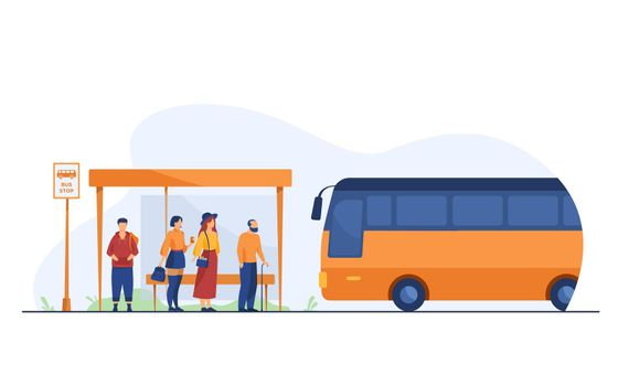 Passengers waiting for public transport at bus stop