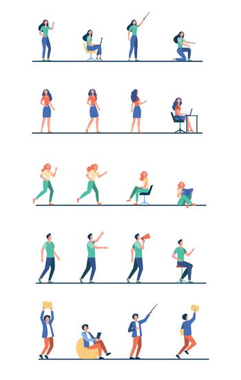 Set of cartoon people in different poses of activity