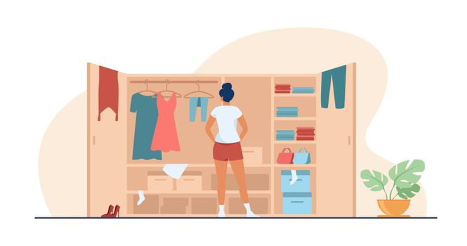 Woman choosing dress from wardrobe flat vector illustration