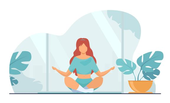 Woman in comfortable posture for meditation