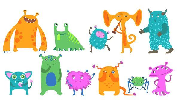 Cartoon monsters flat icon kit