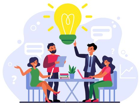 Company employees sharing thoughts and ideas