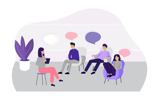 Doctor counseling people at group therapy