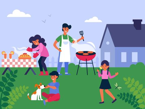 Family cooking barbecue at backyard