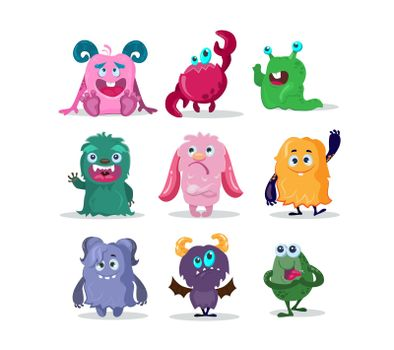 Funny monsters cartoon characters set