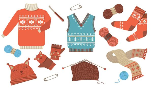 Knitted winter and autumn seasonal clothes flat icon kit