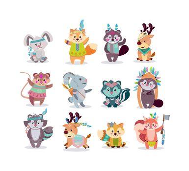 Woodland boho characters flat icon kit
