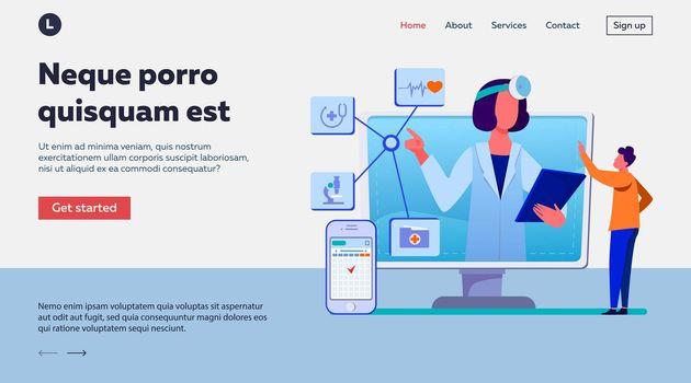 Online medical assistance vector illustration