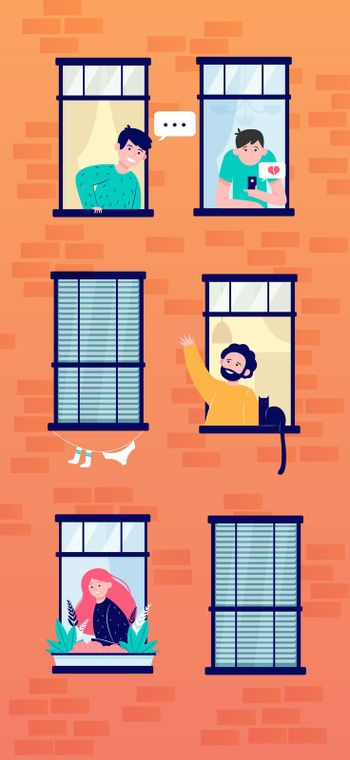 Apartment open windows with friendly neighbors