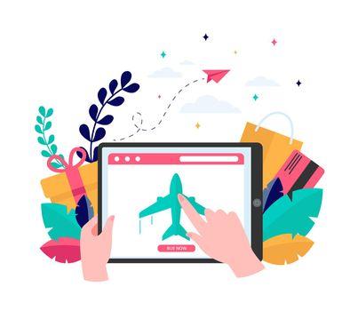 Customer buying plane tickets online