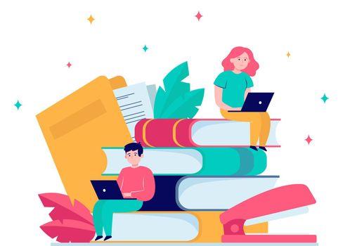 Focused people studying in online school