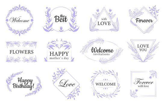 Floral ornaments flat labels set