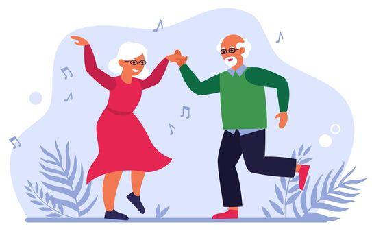 Funny elderly couple dancing