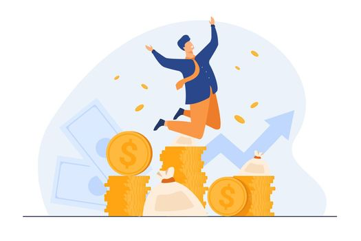 Happy rich banker celebrating income growth
