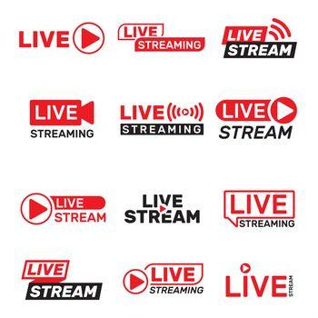 Live stream buttons set
