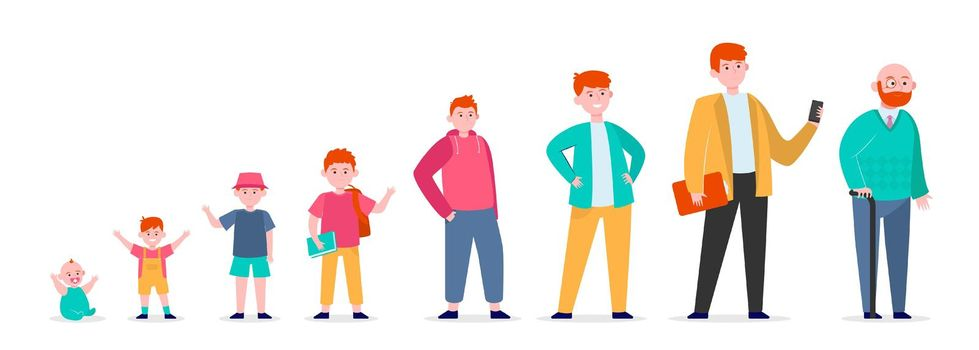 Red-haired man in different age
