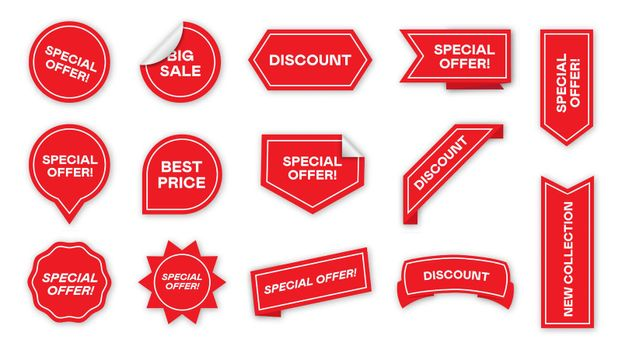 Special offer tags flat icon collection