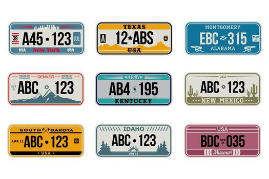 USA car number plates set