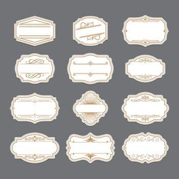 Vintage golden ornate labels set