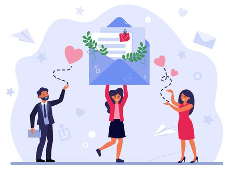 Woman receiving congratulation messages