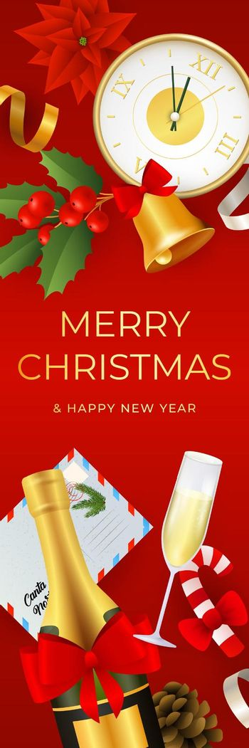 Merry Christmas banner design with realistic objects
