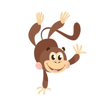 Joyful cartoon monkey doing handstand
