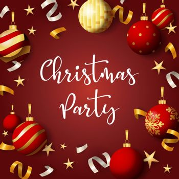 Christmas party banner with balls and ribbons on red background