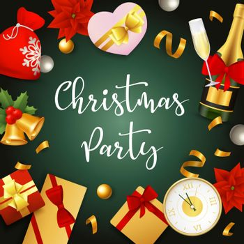 Christmas party banner with presents and ribbons on green ground