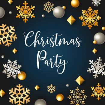 Christmas party banner with stars and flakes on blue background