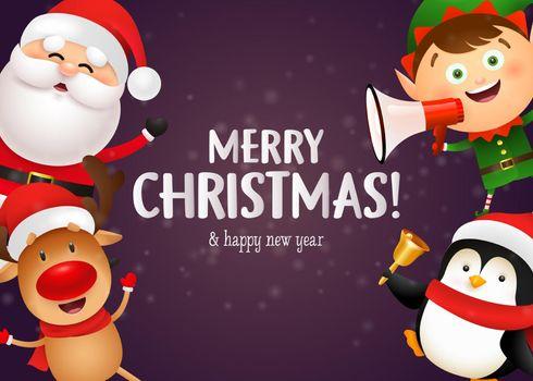 Christmas postcard design with cute reindeer