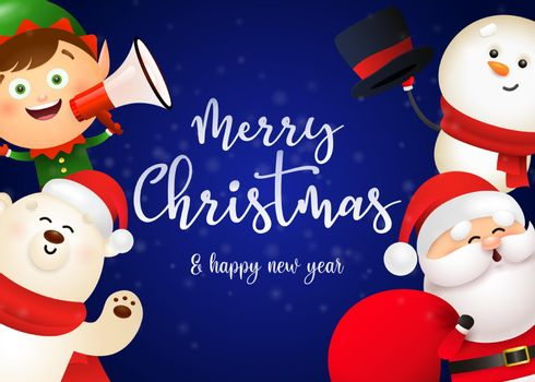 Christmas postcard design with cute Santa