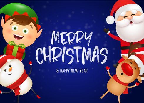 Christmas postcard design with funny Santa